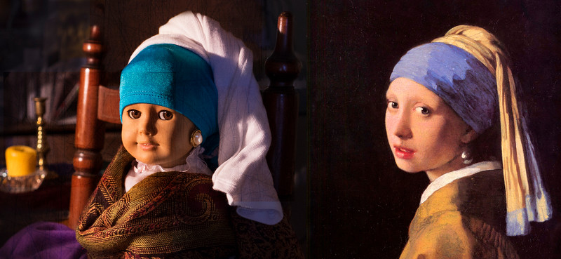 Recreation of a painting using a toy/doll. Girl with a Pearl Earring. ( changed dolls eye placement digitally :D )